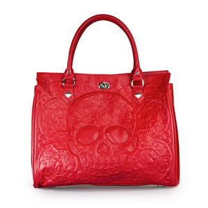 "Women's ""Red on Red Lattice Skull"" Tote"