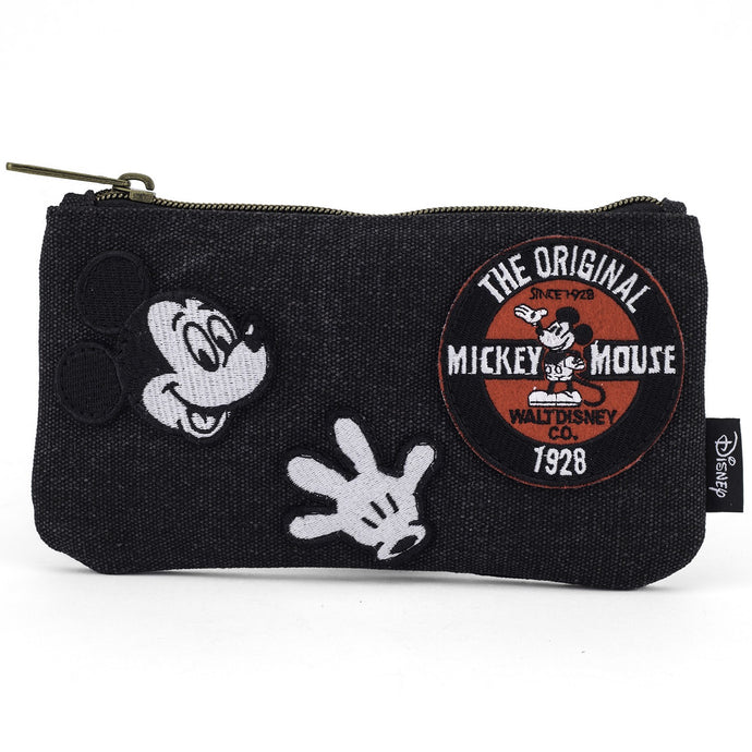 Mickey Patches Denim Coin/Cosmetic Bag