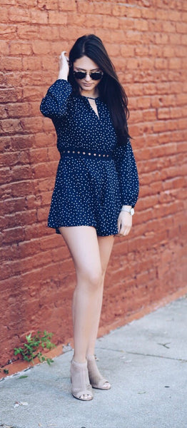 Dance The Night Away Navy Romper