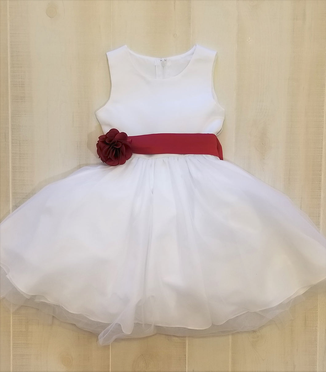 Ivory with Burgundy Sash, Flower Girl Gown