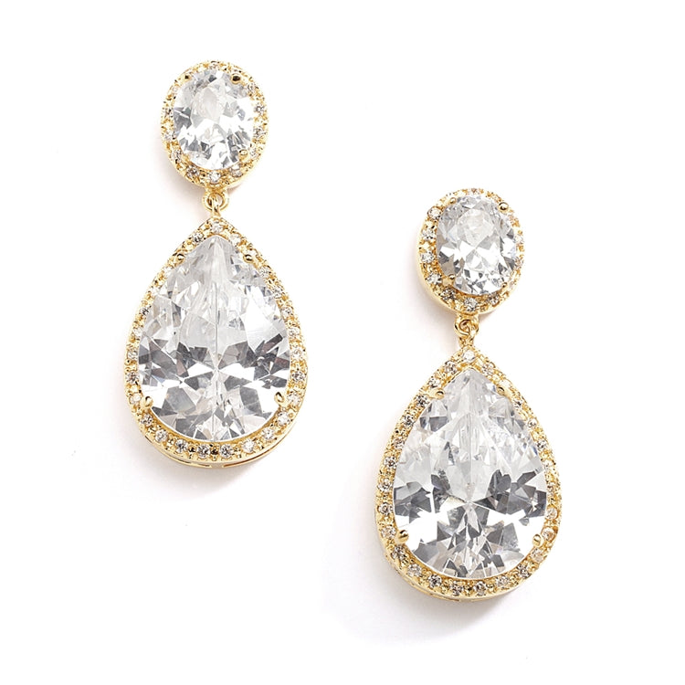 Lustrous 14K Gold Cubic Zirconia Teardrop Wedding Earrings