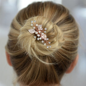 Bridal Hair Pin with Silvery Rose Gold Leaves, Freshwater Pearl and Crystal Sprays