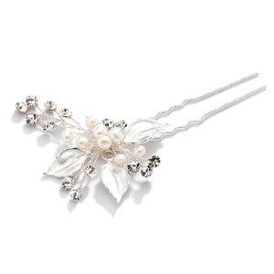 Hair Pin with Hand-Painted Silver Leaves, Freshwater Pearl and Crystal Sprays
