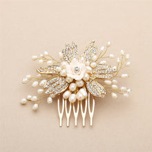 Golden Freshwater Pearl Wedding Comb with Pave Crystals and Delicate Flower