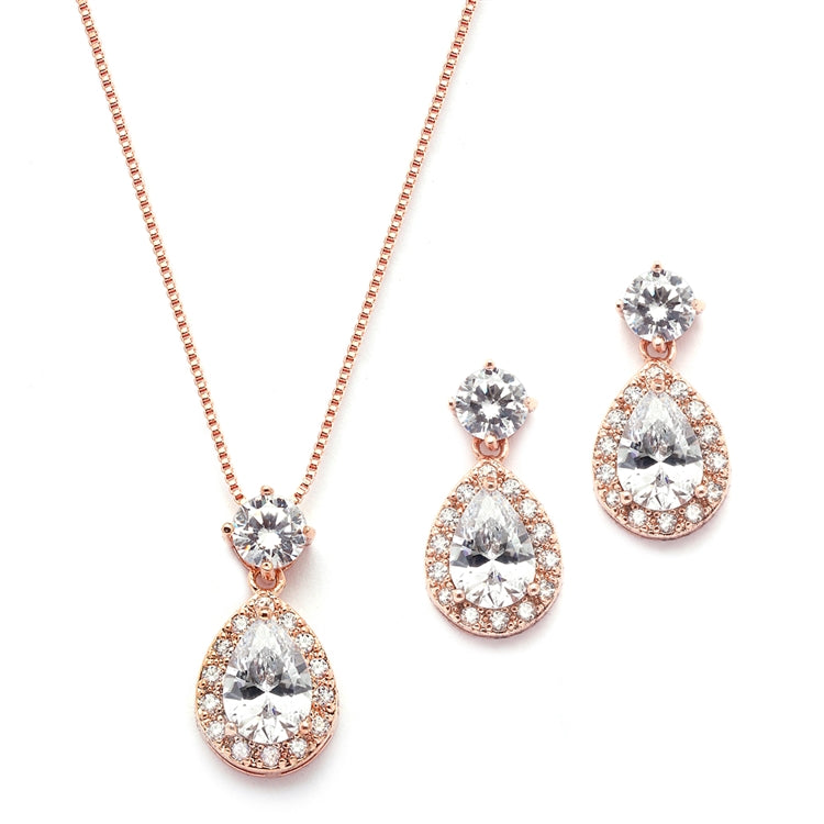 Brilliant CZ Halo Pear Shaped Rose Gold Necklace and Earrings Set