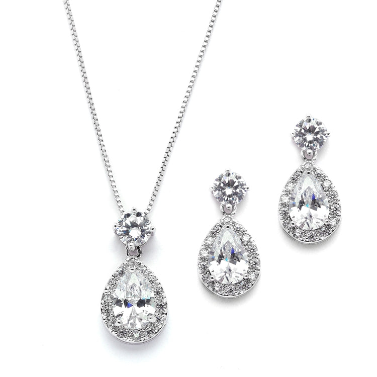Brilliant CZ Halo Pear Shaped Necklace and Earrings Set
