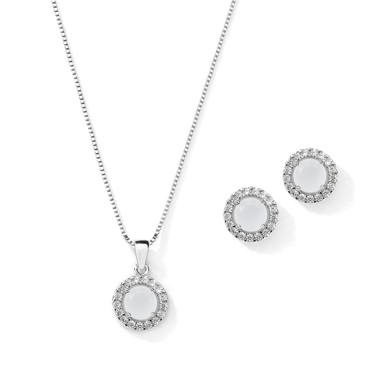 Halo Necklace and Stud Earrings Set - White Opal