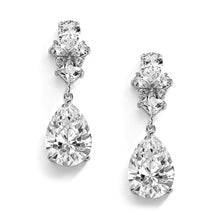 Silver Rhodium Cubic Zirconia Teardrop Pear-Shaped Dangle Drop Wedding Earrings