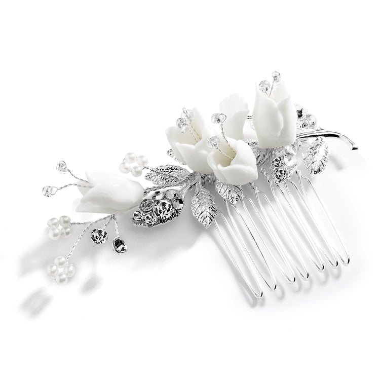 Hair Comb with Silver Leaves