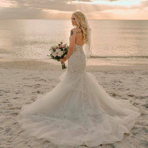 Light Blush Trumpet Wedding Gown