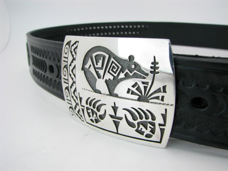 Hopi Bear and Claw Belt Buckle-Lema's Kokopelli Gallery