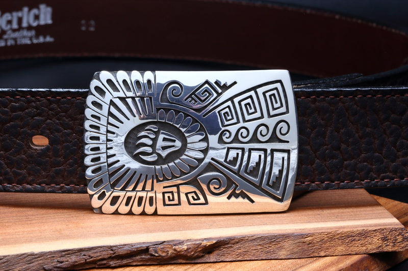 Hopi Bear Claw and Weather Design Belt Buckle-Lema's Kokopelli Gallery