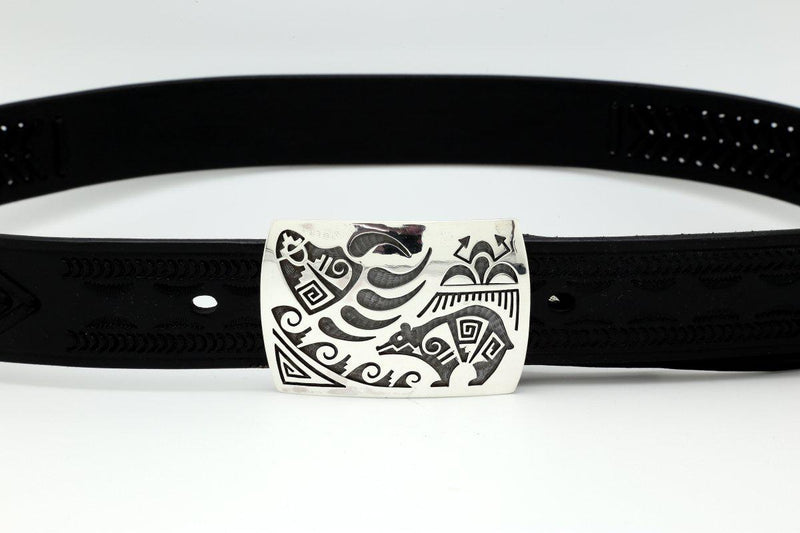 Hopi Bear Paw and Weather Designs Belt Buckle-Lema's Kokopelli Gallery