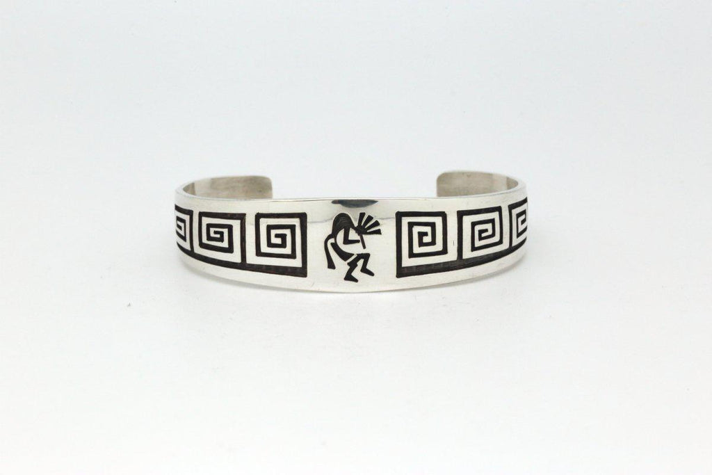 Hopi Bracelet with Kokopelli and Whirling Wind-Lema's Kokopelli Gallery
