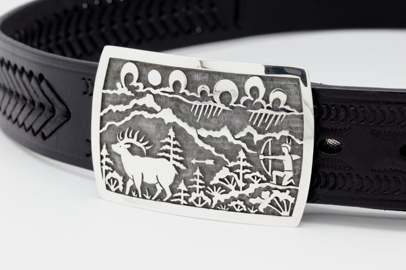 Hopi Elk Hunter Belt Buckle-Lema's Kokopelli Gallery