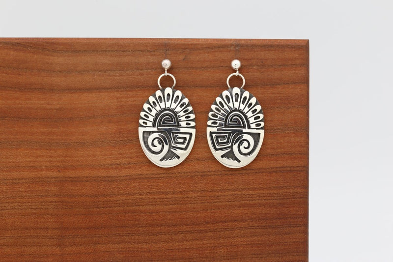 Hopi Feather Earrings-Lema's Kokopelli Gallery