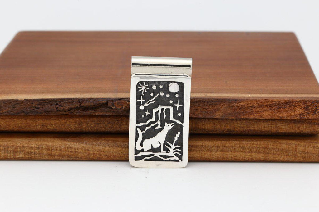 Hopi Howling Coyote Night Sky Money Clip-Lema's Kokopelli Gallery