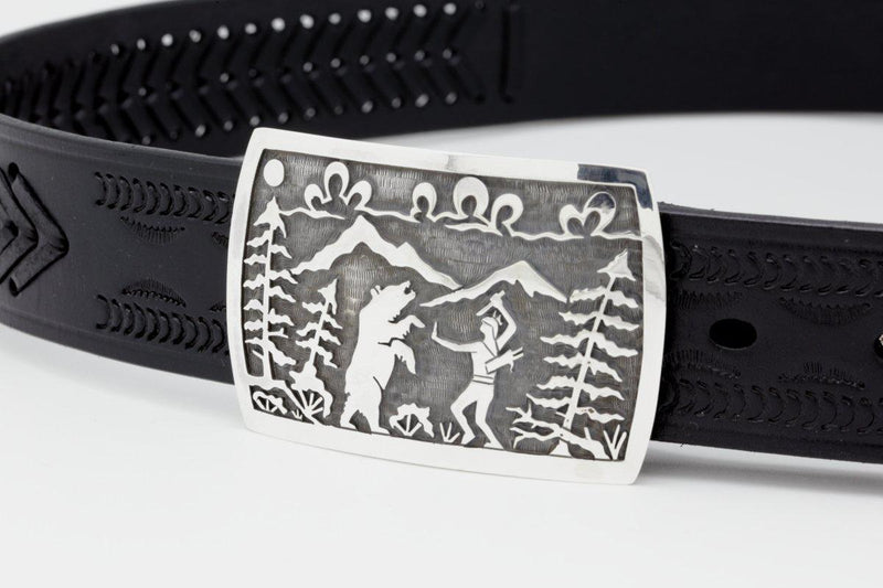 Hopi Hunter Fighting Grizzly Belt Buckle-Lema's Kokopelli Gallery