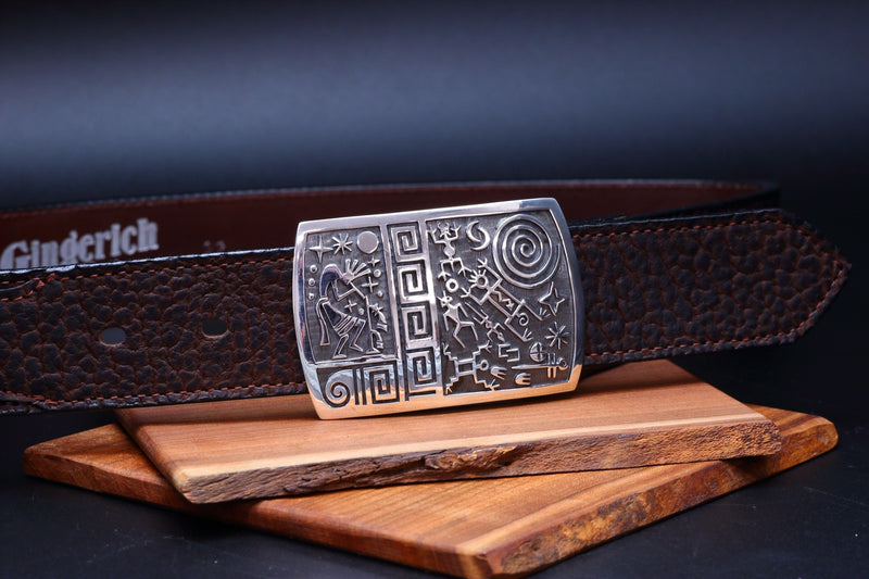 Hopi Kokopelli and Petroglyph Belt Buckle-Lema's Kokopelli Gallery