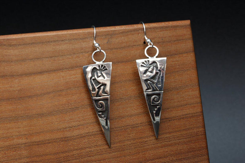 Hopi Kokopelli and Water Wave Earrings-Lema's Kokopelli Gallery