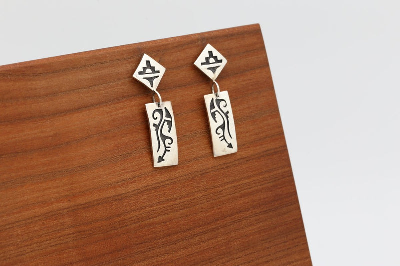 Hopi Lightning Earrings-Lema's Kokopelli Gallery