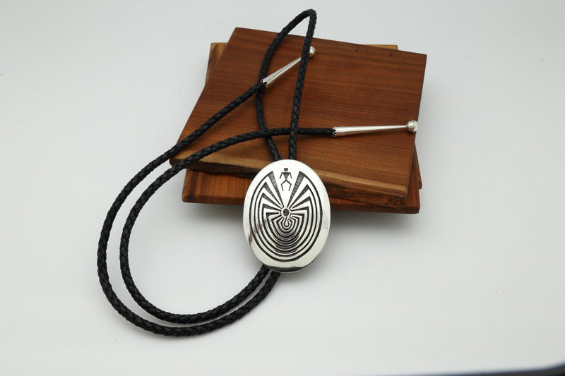 Hopi Oval Man in the Maze Bolo Tie-Lema's Kokopelli Gallery