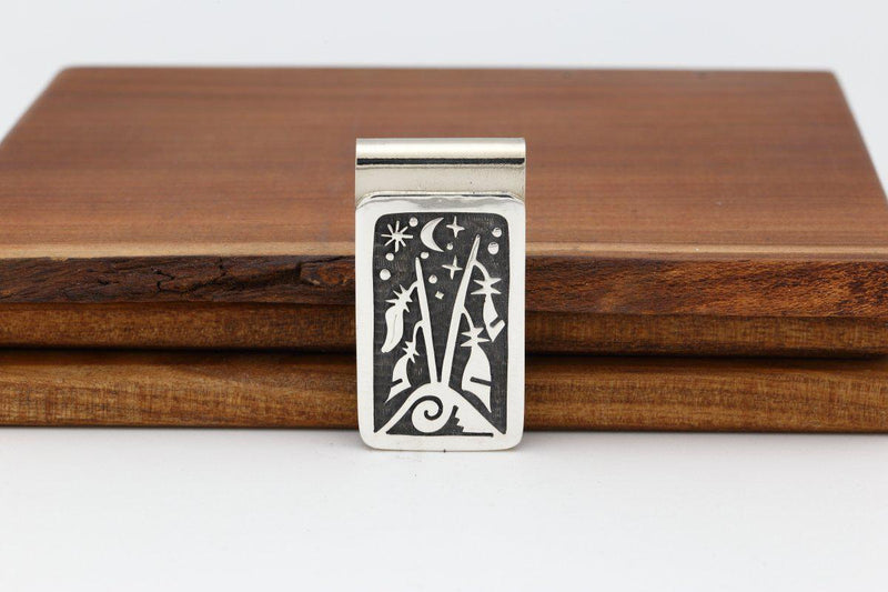 Hopi Prayer Feather Night Sky Money Clip-Lema's Kokopelli Gallery