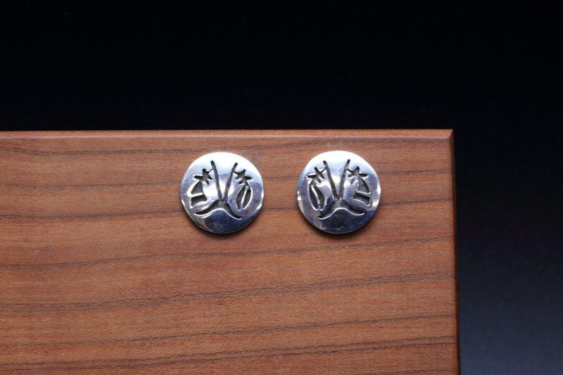 Hopi Prayer Feather Stud Earrings-Lema's Kokopelli Gallery