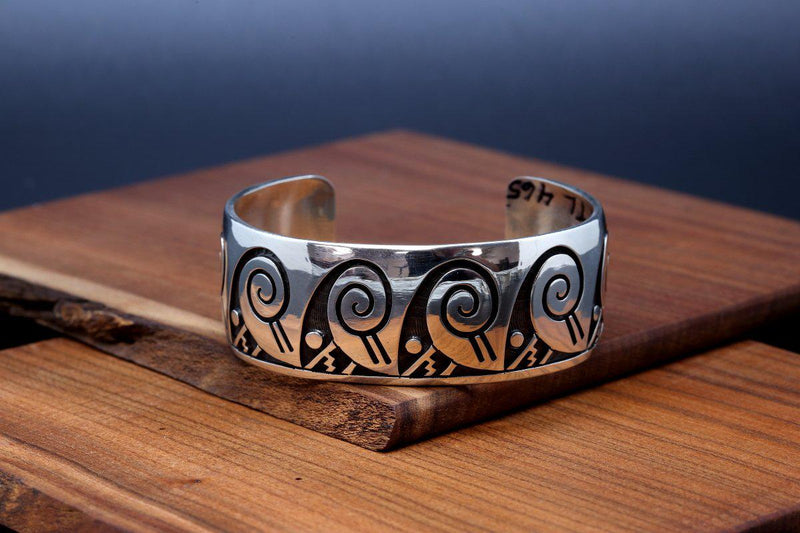 Hopi Water Wave and Moon Bracelet-Lema's Kokopelli Gallery