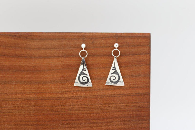 Hopi Water Wave Earrings-Lema's Kokopelli Gallery