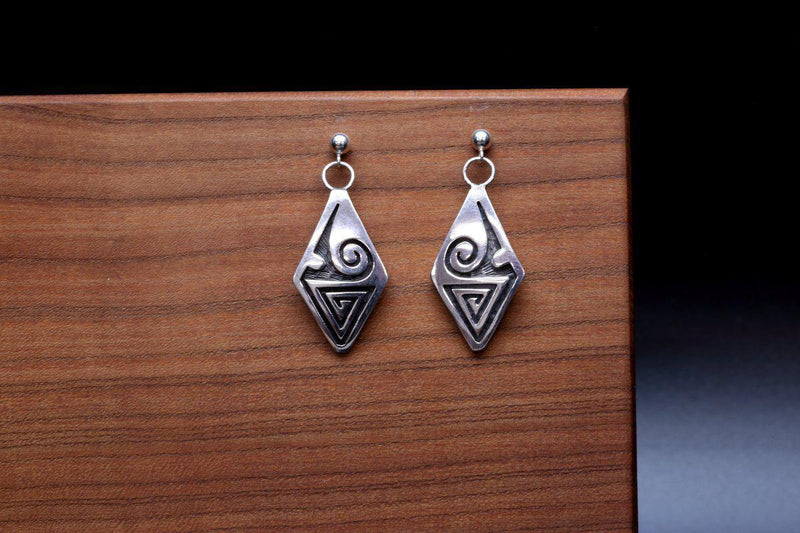 Hopi Weather Diamond Shaped Earrings-Lema's Kokopelli Gallery