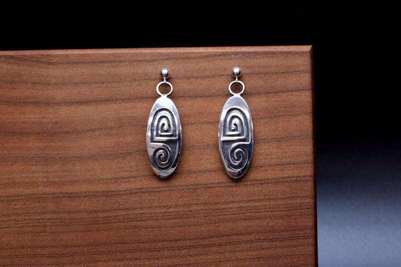 Hopi Weather Oval Shaped Earrings-Lema's Kokopelli Gallery