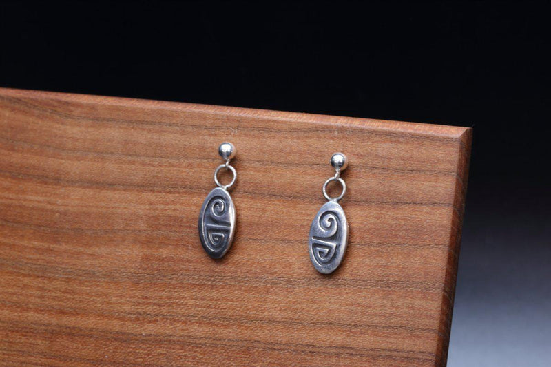 Hopi Weather Pattern Oval Earrings-Lema's Kokopelli Gallery