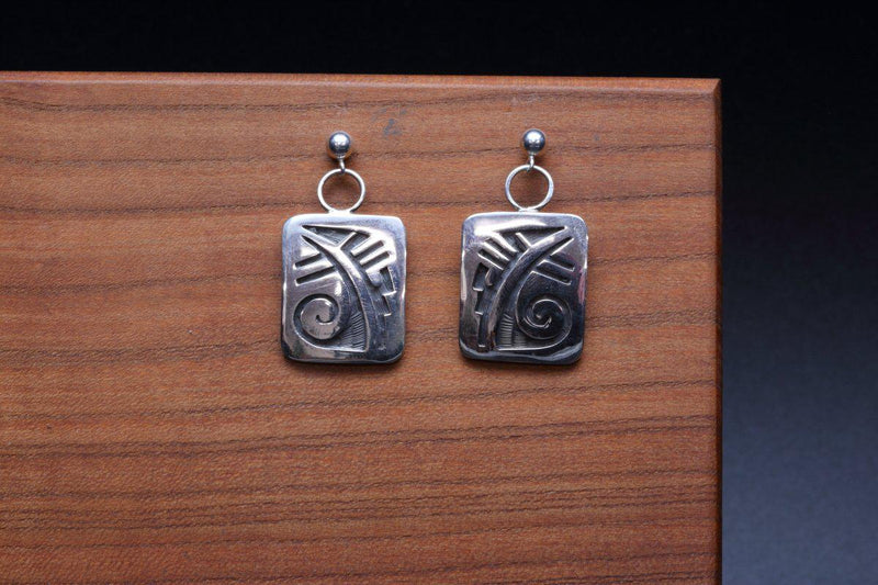 Hopi Weather Square Earrings-Lema's Kokopelli Gallery
