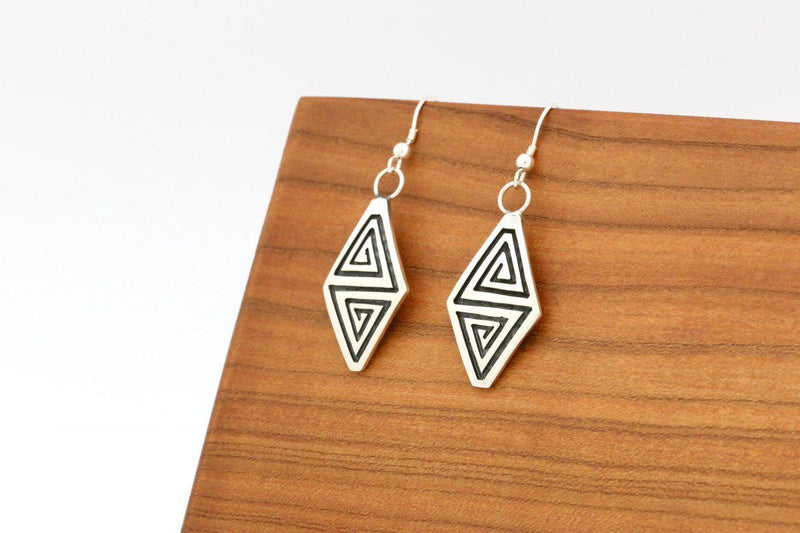 Hopi Whirling Winds Earrings-Lema's Kokopelli Gallery