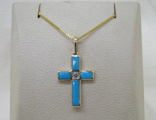 Kabana 14k Gold Cross Pendant with Inlay Turquoise-Lema's Kokopelli Gallery