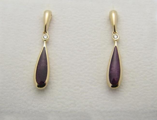 Kabana 14k Gold Earrings with Inlay Purple Spiny Oyster and 2 Diamonds-Lema's Kokopelli Gallery