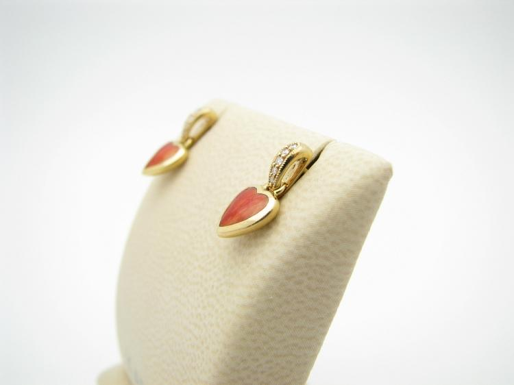 Kabana 14k Gold Earrings with Inlay Red Spiny Oyster and 10 Diamonds-Lema's Kokopelli Gallery