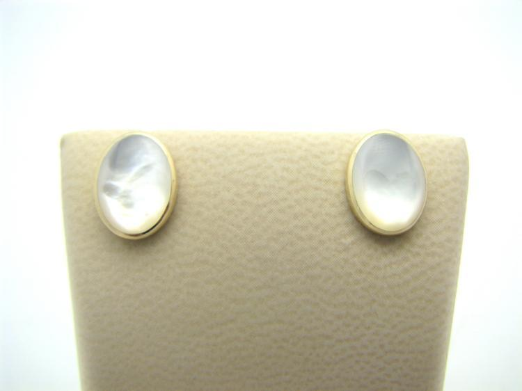 Kabana 14k Gold Mother of Pearl Oval Earrings-Lema's Kokopelli Gallery