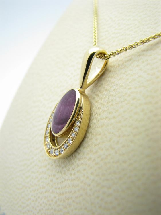 Kabana 14k Gold Pendant with Inlay Purple Spiny Oyster, 15 Diamonds-Lema's Kokopelli Gallery