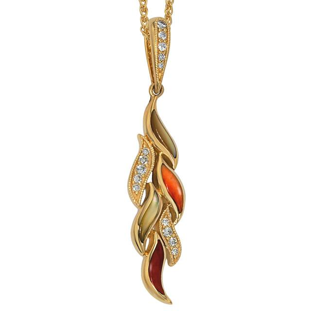 Kabana 14k Gold Pendant with Inlay Spiny Oyster, Mother of Pearl, 14 Diamonds-Lema's Kokopelli Gallery