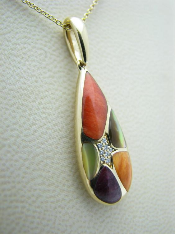 Kabana 14k Gold Pendant with Inlay Spiny Oyster, Mother of Pearl, 8 Diamonds-Lema's Kokopelli Gallery