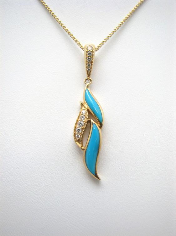 Kabana 14k Gold Pendant with Inlay Turquoise, 10 Diamonds-Lema's Kokopelli Gallery