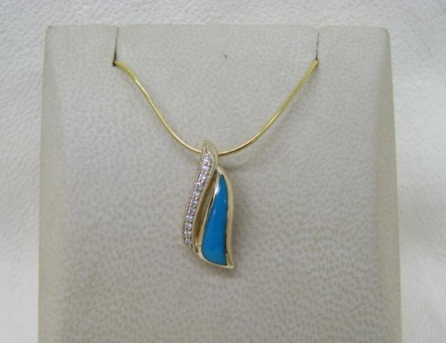 Kabana 14k Gold Pendant with Inlay Turquoise, 11 Diamonds-Lema's Kokopelli Gallery