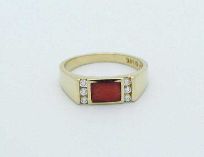 Kabana 14k Gold Red Spiny Oyster Diamond Ring-Lema's Kokopelli Gallery