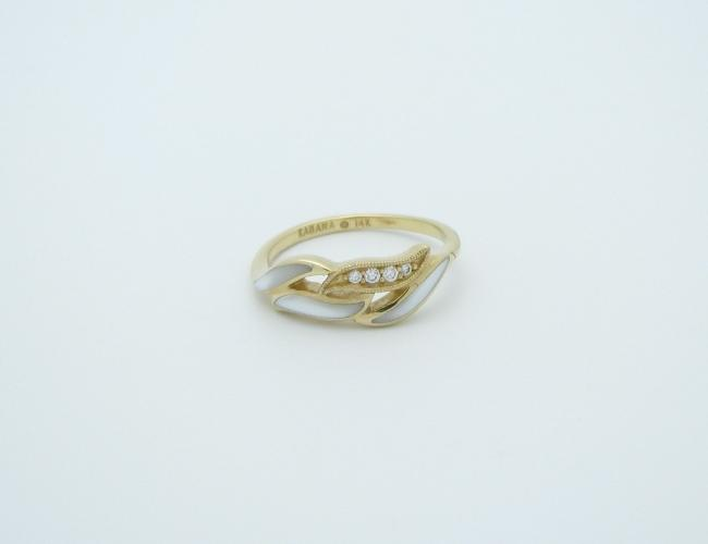 Kabana 14k Gold Ring with Inlay White Mother of Pearl, 4 Diamonds-Lema's Kokopelli Gallery