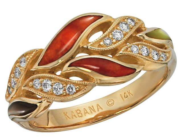 Kabana 14k Gold Ring with Multicolored Spiny Oyster, 16 Diamonds-Lema's Kokopelli Gallery