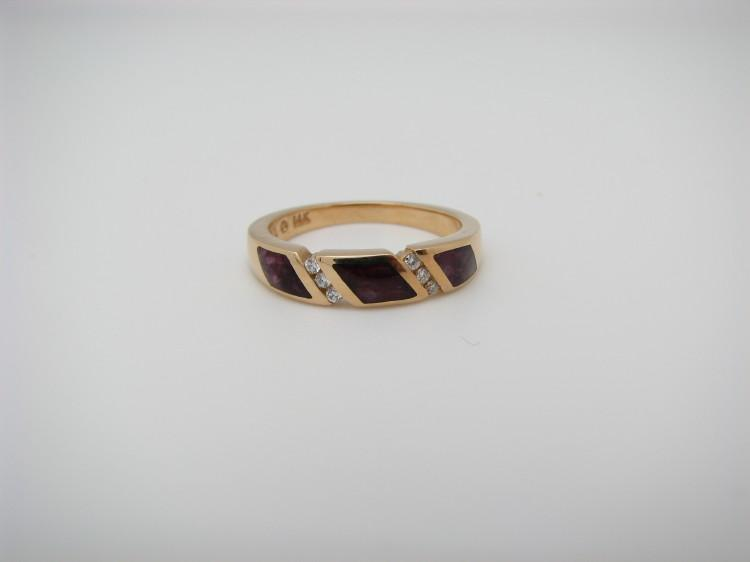Kabana 14k Gold Ring with Purple Spiny Oyster-Lema's Kokopelli Gallery