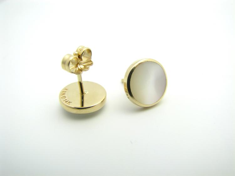 Kabana 14k Gold Round Stud Earrings with Inlay Mother of Pearl-Lema's Kokopelli Gallery