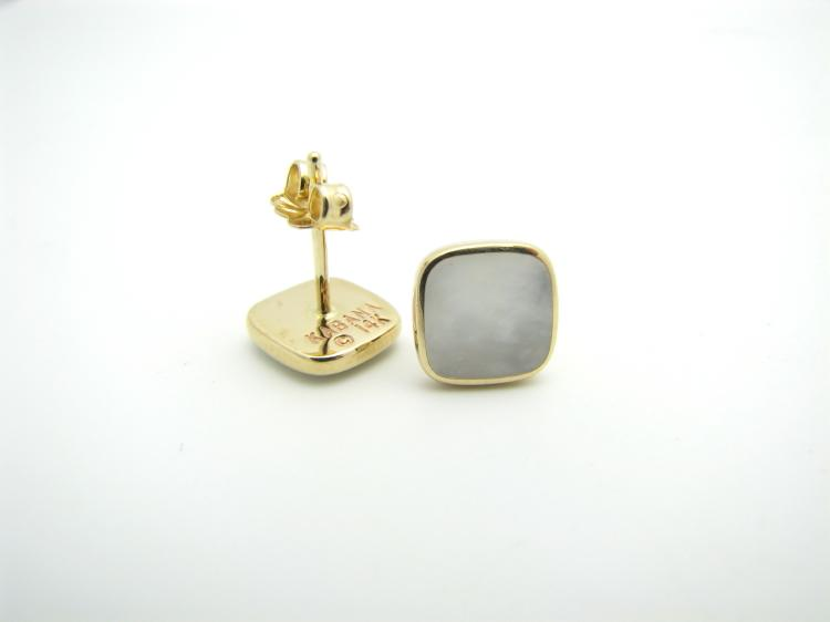 Kabana 14k Gold Square Stud Earrings with Inlay Mother of Pearl-Lema's Kokopelli Gallery